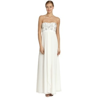 Aidan Mattox Chiffon Embellished Strapless Empire Gown Dress