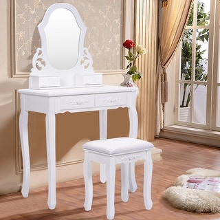 Costway White Vanity Jewelry Wooden Makeup Dressing Table Set W/Stool Mirror & 4 Drawer