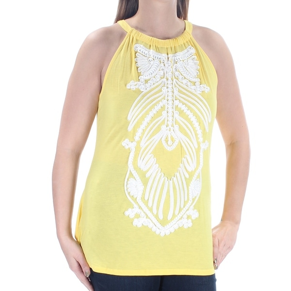 7ec8e25d60f6c Shop INC Womens Yellow Soutache-trim Sleeveless Halter Top Size  L - Free  Shipping On Orders Over  45 - Overstock.com - 23452938