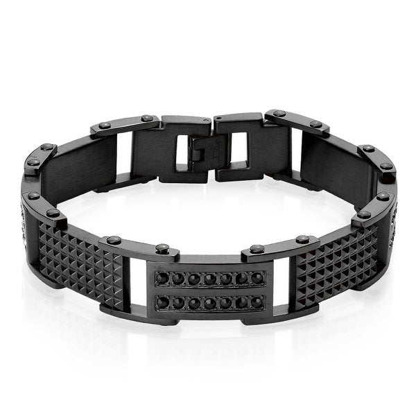 Double Lined CZ and Spiked Stainless Steel ID Bracelet (Sold Ind.)