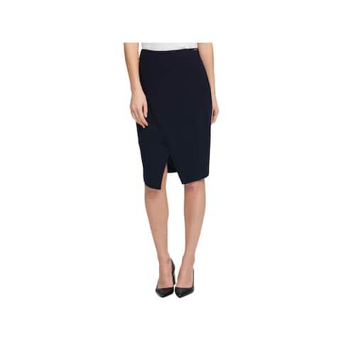 DKNY Womens Asymmetrical Skirt Split Pencil