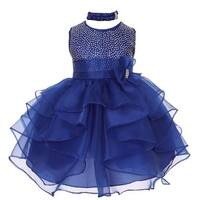 Baby Girls Royal Blue Organza Rhinestuds Bow Sash Flower Girl Dress 6-24M