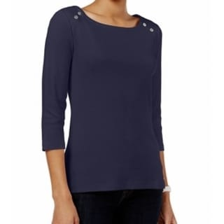 Tommy Hilfiger NEW Navy Blue Women's XL Embellished Boat-Neck Knit Top