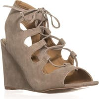 Steve Madden Whistler Peep-Toe Wedge Pumps, Taupe Suede