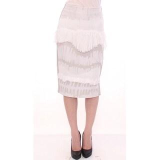 Arzu Kaprol White Acrylic Straight Pencil Skirt - it40-s