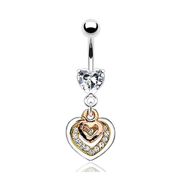 316L Prong-Set Gem Navel Belly Button Ring with Triple Tone Gem Pave Heart Dangle