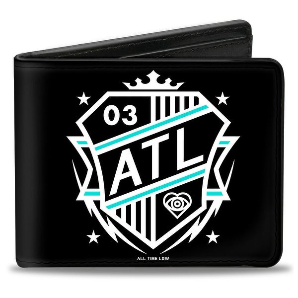 All Time Low Atl Fc Badge Black White Turquoise Bi Fold Wallet - One Size Fits most