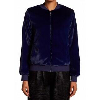 Harlowe & Graham NEW Blue Womens Size XS Faux-Fur Cozy Bomber Jacket