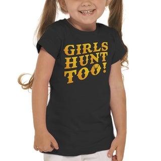 Girls Hunt Too Outdoors Girl's Black T-shirt