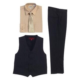 Gioberti Khaki Black Vest Pants Striped Tie Shirt 4 Pc Formal Set