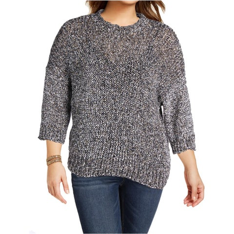 Joseph Womens Pullover Sweater Paper Tweed Knit 3/4 Sleeves