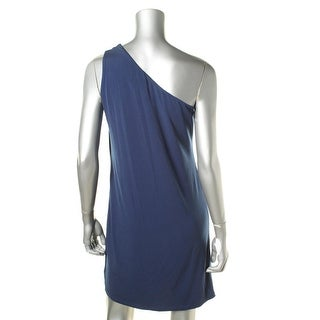 MICHAEL Michael Kors Womens Petites Metal Detail One Shoulder Party Dress
