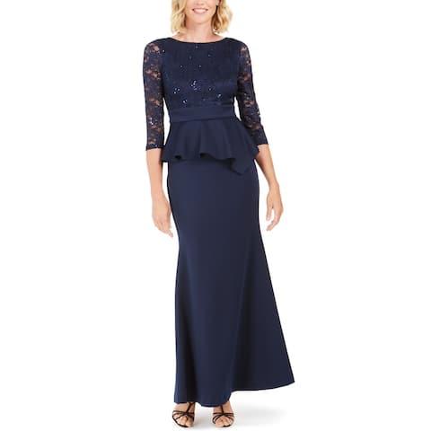Jessica Howard Women's Dress Navy Blue Size 12 Sequin Lace Peplum Gown