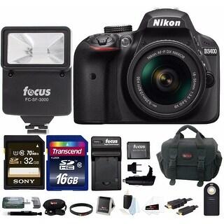 Nikon D3400 DSLR Camera w/ 18-55mm Lens (Black),Flash & 48GB Bundle