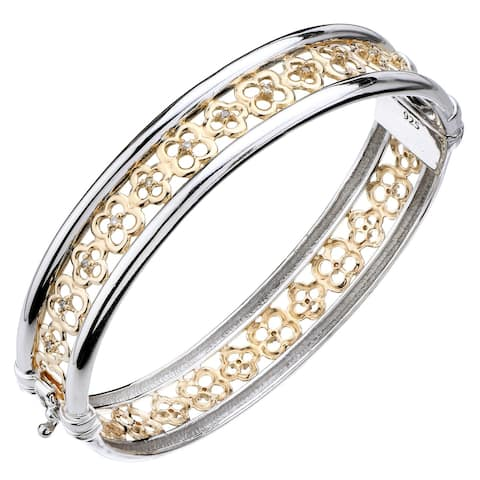 1/4 cttw Diamond Bangle Flower Style Yellow Gold Plated .925 Sterling Silver