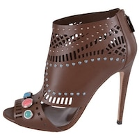 419d3ad10987 Shop Fendi Suede Laser Cut Chunky High Heel Platform Shoes - On Sale ...