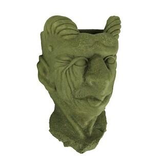 Designer Stone Mossy Green Gargoyle Head Concrete Wall Mounted Planter - 14 X 7.75 X 6.75 inches