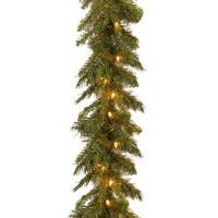 "9' x 10"" Pre-Lit Tiffany Fir Artificial Christmas Garland - Clear Lights - green"
