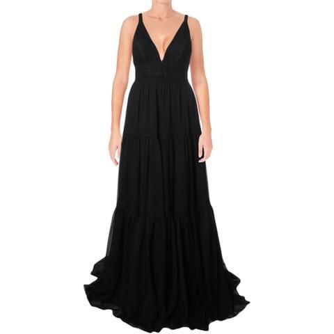 Faviana Womens Evening Dress Prom Lace-Trim - Black/Nude