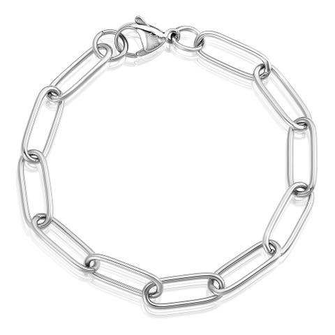 ELYA Polished Stainless Steel Adjustable Paperclip Bracelet