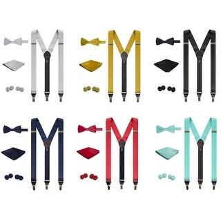 Jacob Alexander Matching Suspenders Handkerchief Cufflinks and Pre-Tied Bow Tie Set