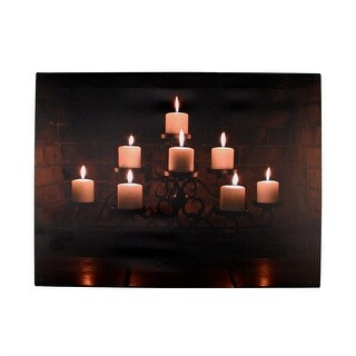 "LED Lighted Flickering Rustic Fireplace Candles Canvas Wall Art 11.75"" x 15.75"" - Black"