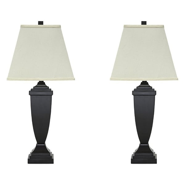 Resin Body Table Lamp with Square Hardback Shade, Set of 2, Black and White. Opens flyout.
