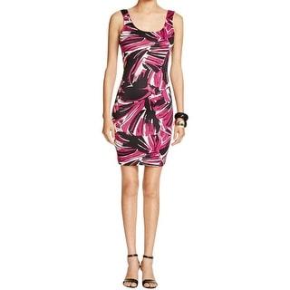 Aqua Womens Juniors Bodycon Dress Sleeveless Floral Print