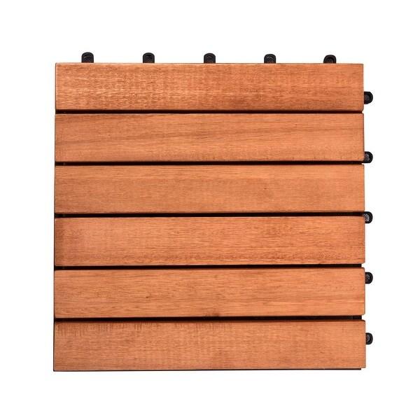 """Set of 10 Brown Natural Finish 6-Horizontal Slat Interlocking Deck Tiles 12"""" - N/A"""