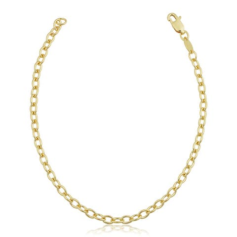 Solid 14k Gold Filled Oval Link Chain Charm Bracelet for Women (3.3 millimeters, 7.5 inches)