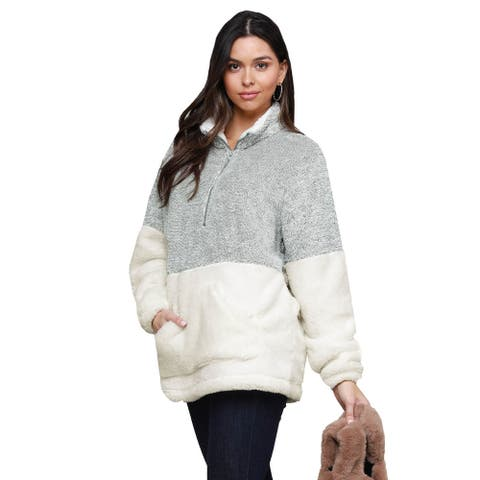 Cali Chic Women's Sweatshirt Celebrity Grey White Zip Neck Oversize Fluffy Fleece Pullover