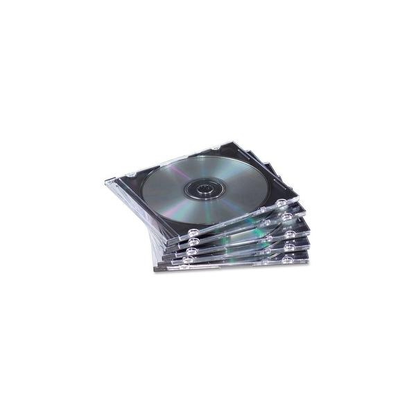Fellowes Inc. 98316 Fellowes Slim Jewel Cases - 25 Pack - Jewel Case - Book Fold - Polystyrene - Clear, Black - 1 CD/DVD