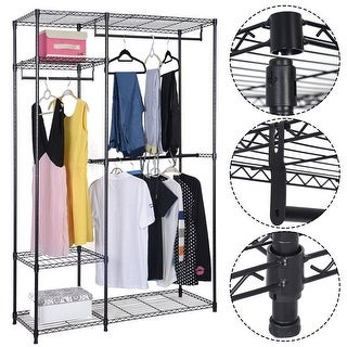 Costway 48''x18''x71'' Closet Organizer Garment Rack Portable Clothes Hanger Home Shelf
