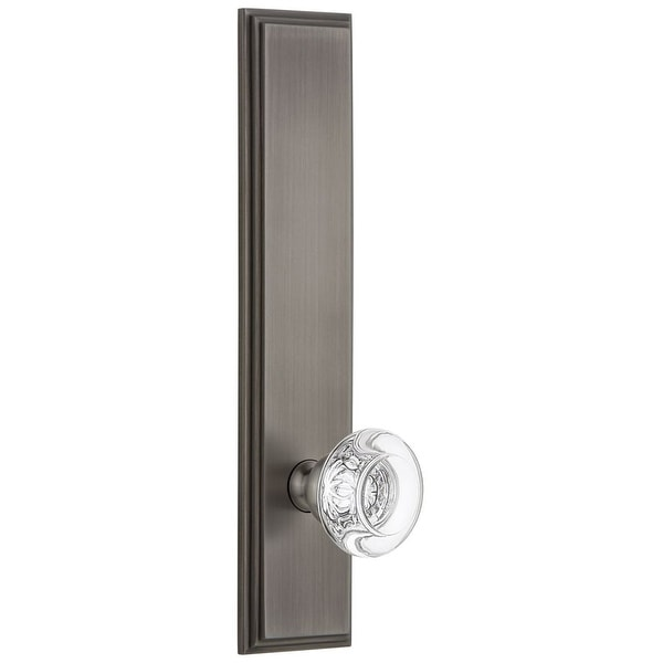 Grandeur CARBOR_TP_PRV_234_RH Carre Solid Brass Tall Plate Rose Right Handed Privacy Door Knob Set with Bordeaux Crystal Knob