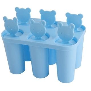 Home Plastic DIY 6 Compartments Frozen Ice Cream Popsicle Maker Mold Mould Blue