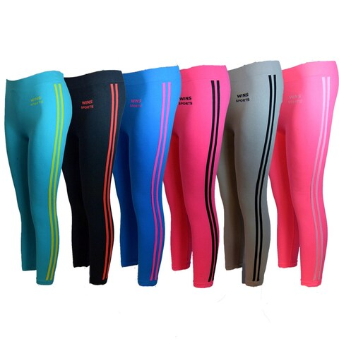 Women's 6 Pack Seamless Double Stripes Athletic Sports Yoga Full-LengthLeggings