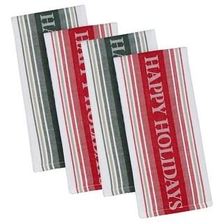 Set of 4 Decorative Happy Holidays Striped Jacquard Cotton Dishtowels