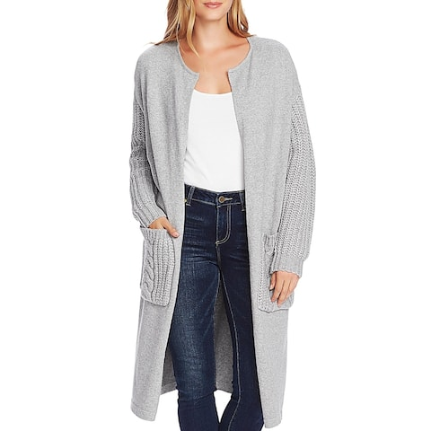 Vince Camuto Womens Cardigan Sweater Mixed Knit Open Front
