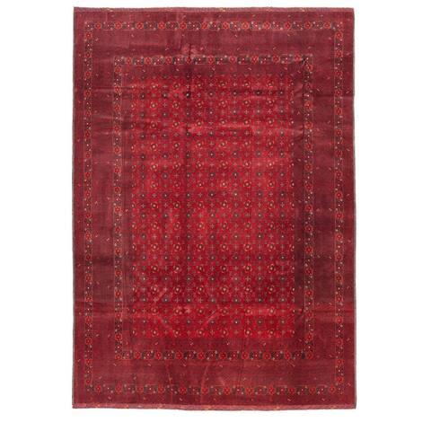 ECARPETGALLERY Hand-knotted Finest Khal Mohammadi Dark Red Wool Rug - 6'3 x 8'11