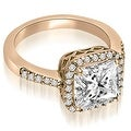 1.00 cttw. 14K Rose Gold Cushion And Round Shape Halo Diamond Engagement Ring - Thumbnail 1