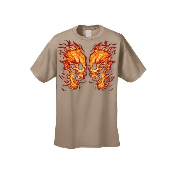 Men's T-Shirt Flaming Face Off Skulls Bikers Skeleton Fire Grim Reaper Death Tee