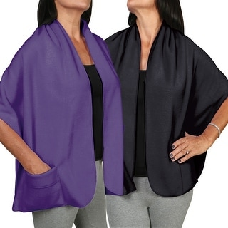 Women's Fleece Pocket Shawl Set Of Two - Black And Purple - One size