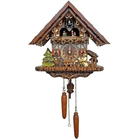 14-Inch Dark Brown Battery-Operated Dancing Cuckoo House Wall Clock