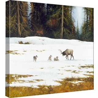 "PTM Images 9-97804  PTM Canvas Collection 12"" x 12"" - ""The Bluff"" Giclee Elk and Wolves Art Print on Canvas"