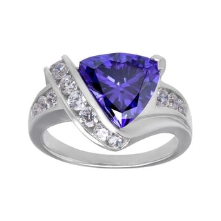 Ring with Purple and White Cubic Zirconia in Sterling Silver