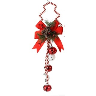 """16"""" Peppermint Twist Red & White Jingle Bell with Pine Christmas Door Hanger"""