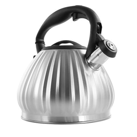 Mr. Coffee Donato 2.5 Quart Stainless Steel Round Whistling Tea Kettle