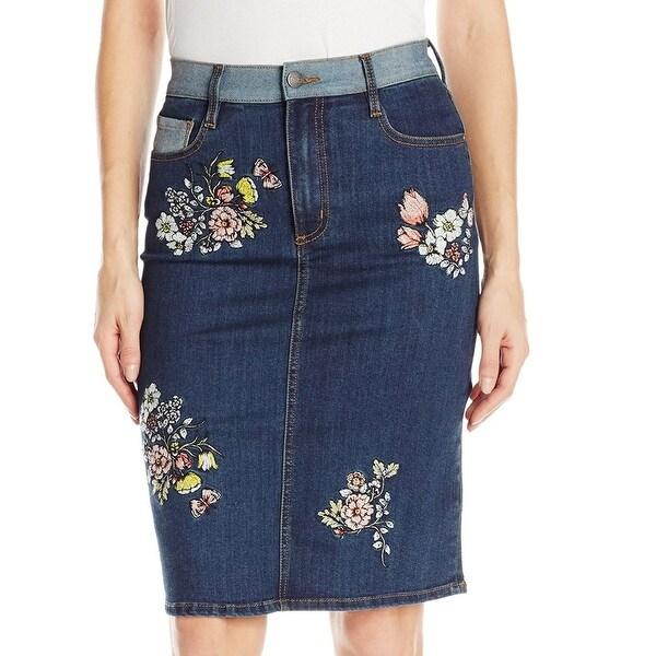 963feacbf1a96 Buffalo David Bitton NEW Blue Women  x27 s Size 27 Embroidered Pencil Skirt