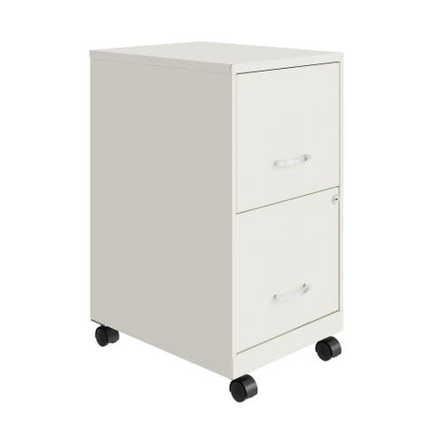 """Space Solutions 18"""" 2 Drawer Mobile Vertical File Cabinet, Pearl White"""