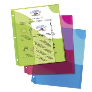 Avery Corner Lock Three-Pocket Binder Pockets, Assorted Colors, Pack of 3